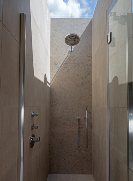 Shower with skylight above